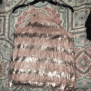 cute and stylish champagne colored sequence blouse